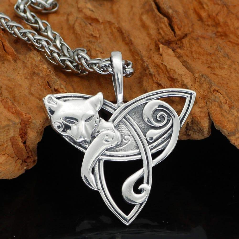 Pendants & Necklaces S925 Sterling Silver Cat on Triquetra Celtic Necklace Ancient Treasures Ancientreasures Viking Odin Thor Mjolnir Celtic Ancient Egypt Norse Norse Mythology