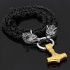 Pendants & Necklaces Stainless Steel Wolf Head Black King Chain with Gold Mjolnir