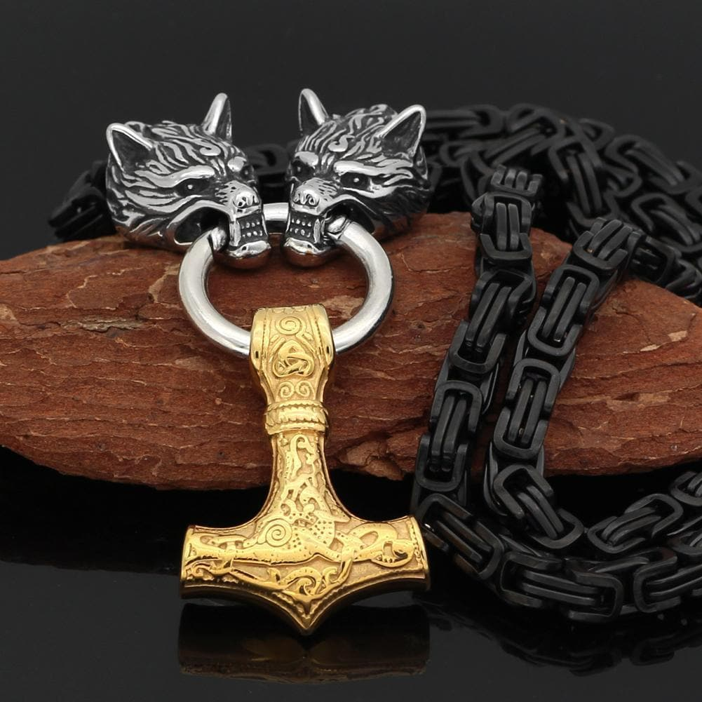 Stainless Steel Wolf Head Black King Chain with Gold Mjolnir