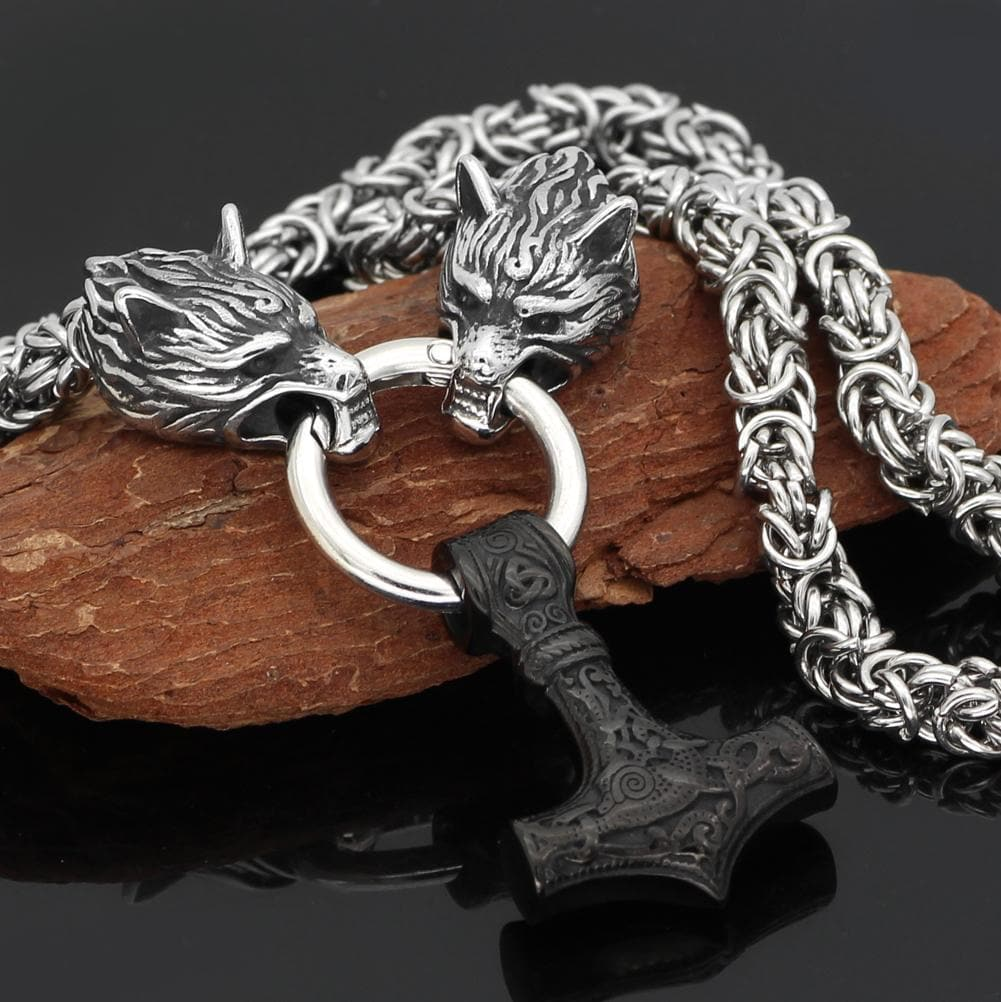 Pendants & Necklaces Stainless Steel Wolf Head Chain with Black Mjolnir