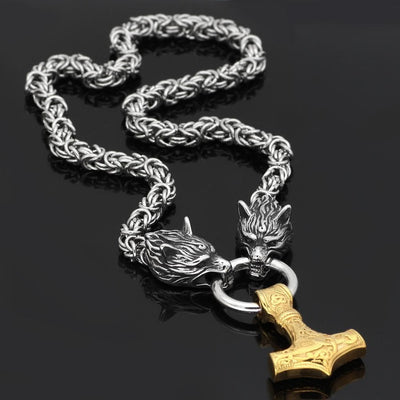 Pendants & Necklaces Stainless Steel Wolf Head Chain with Gold Mjolnir