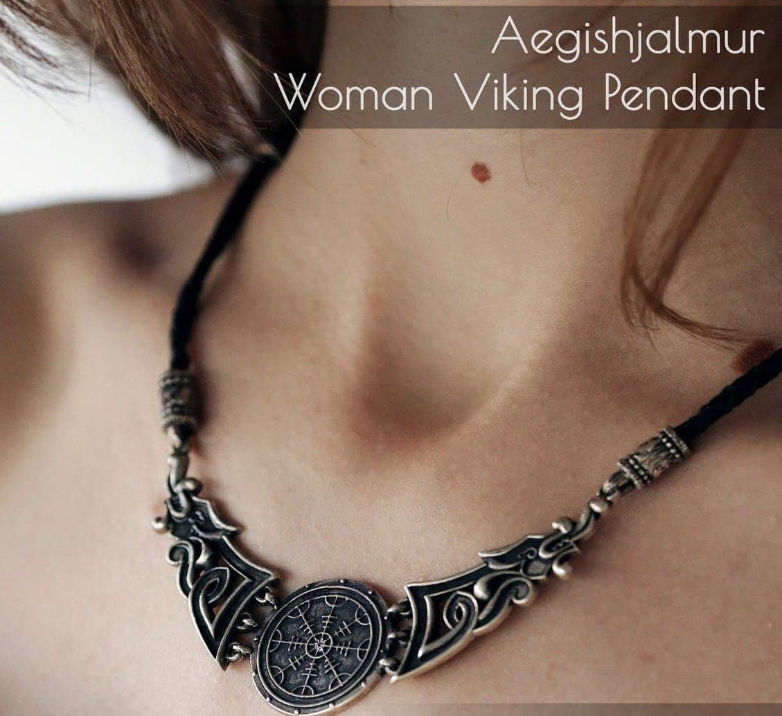Pendants & Necklaces Viking Norse Dragon & Aegishjalmur Mystical Silver Necklace Ancient Treasures Ancientreasures Viking Odin Thor Mjolnir Celtic Ancient Egypt Norse Norse Mythology