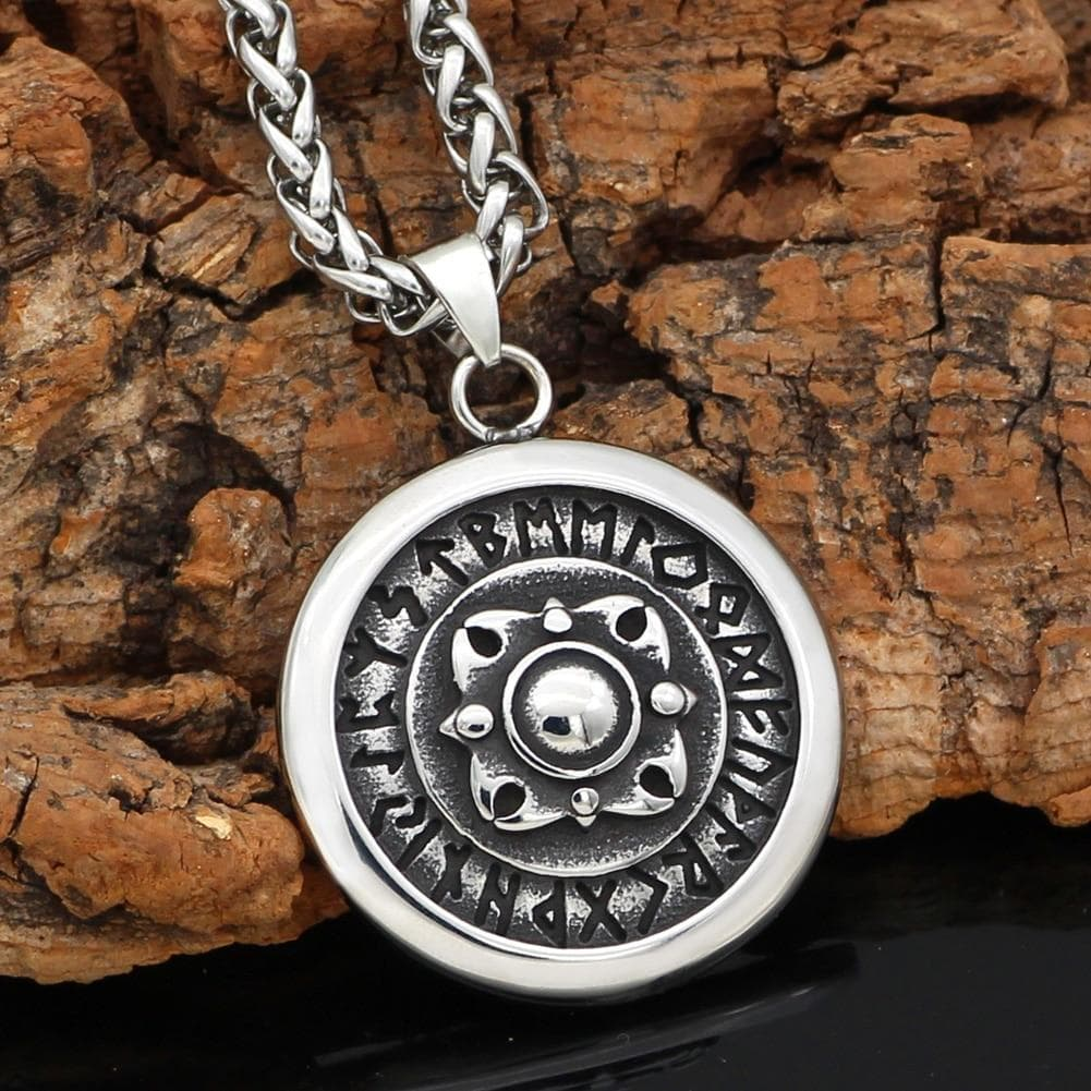 Pendants & Necklaces Viking Shield Rune and Compass Talisman Pendant & Necklace Ancient Treasures Ancientreasures Viking Odin Thor Mjolnir Celtic Ancient Egypt Norse Norse Mythology