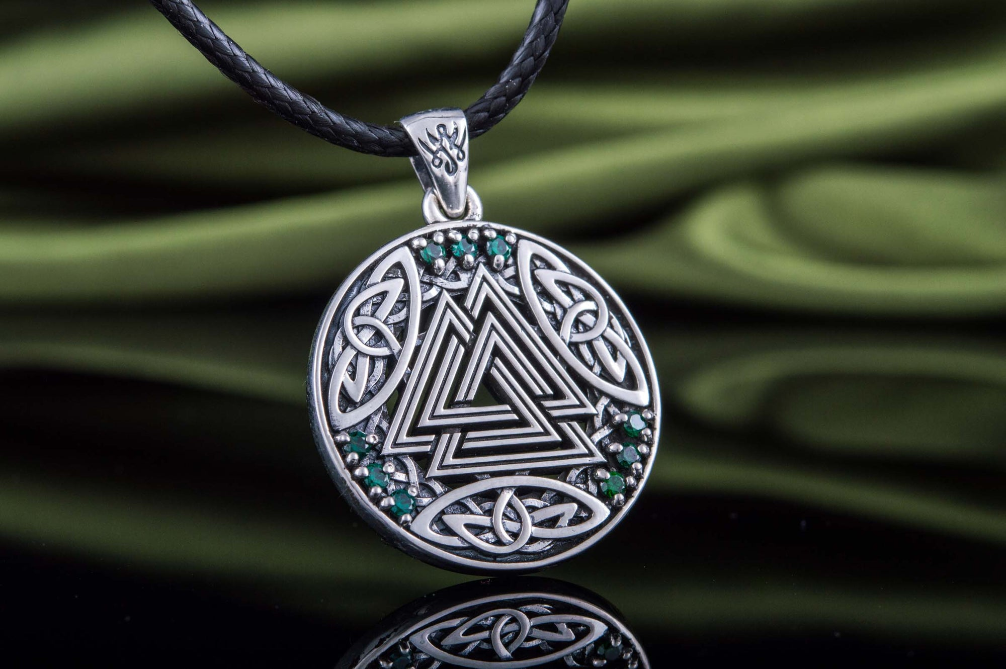 Viking Valknut & Cubic Zirconia Sterling Silver Norse Pendant