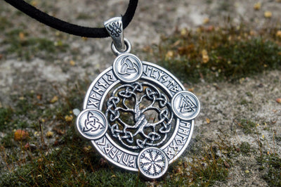 Pendants & Necklaces Viking Yggdrasil - The Wold Tree Pendant with Norse Symbols Ancient Treasures Ancientreasures Viking Odin Thor Mjolnir Celtic Ancient Egypt Norse Norse Mythology