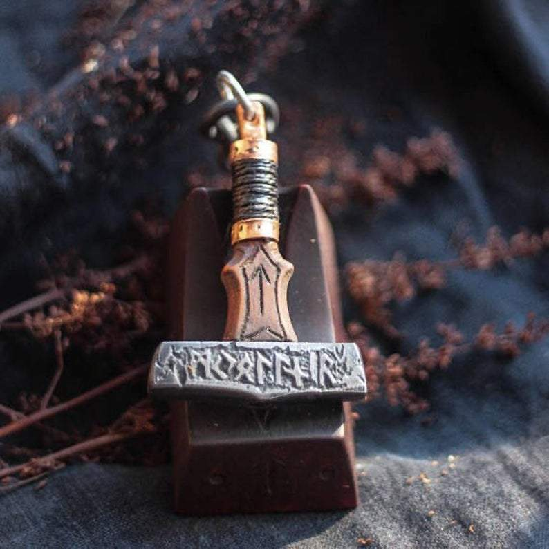Pendants & Necklaces Vikings Authentic Mjolnir Wood and Copper Pendant Ancient Treasures Ancientreasures Viking Odin Thor Mjolnir Celtic Ancient Egypt Norse Norse Mythology