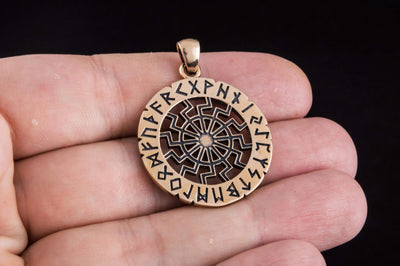 Pendants & Necklaces Vikings Black Sun with Elder Futhark Runes Pendant Ancient Treasures Ancientreasures Viking Odin Thor Mjolnir Celtic Ancient Egypt Norse Norse Mythology