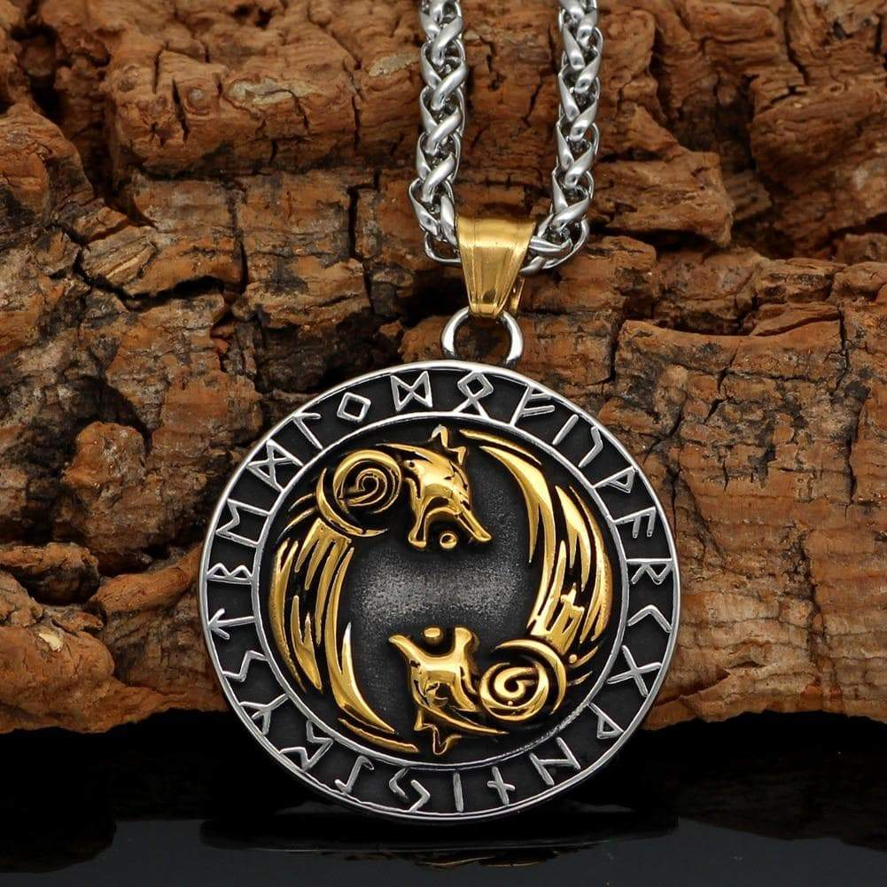 Pendants & Necklaces Vikings Geri and Freki Pendant & Necklace Ancient Treasures Ancientreasures Viking Odin Thor Mjolnir Celtic Ancient Egypt Norse Norse Mythology