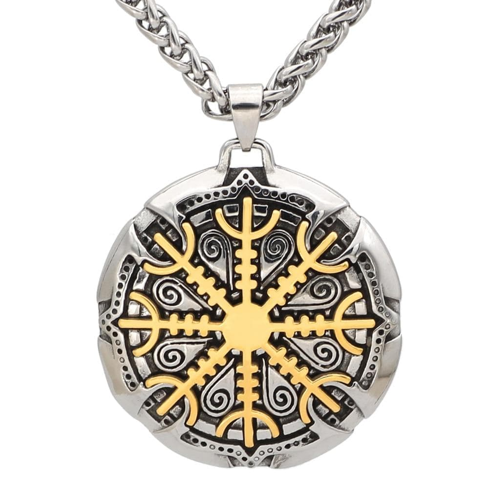 Pendants & Necklaces Vikings Helm of Awe and Vegvisir Stainless Steel Pendant & Necklace Ancient Treasures Ancientreasures Viking Odin Thor Mjolnir Celtic Ancient Egypt Norse Norse Mythology