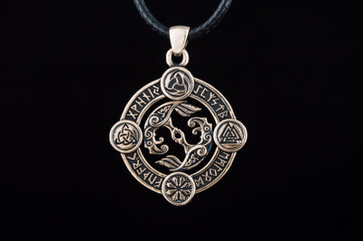 Pendants & Necklaces Vikings Huginn & Munnin Pendant with Norse Symbols & Runes Ancient Treasures Ancientreasures Viking Odin Thor Mjolnir Celtic Ancient Egypt Norse Norse Mythology