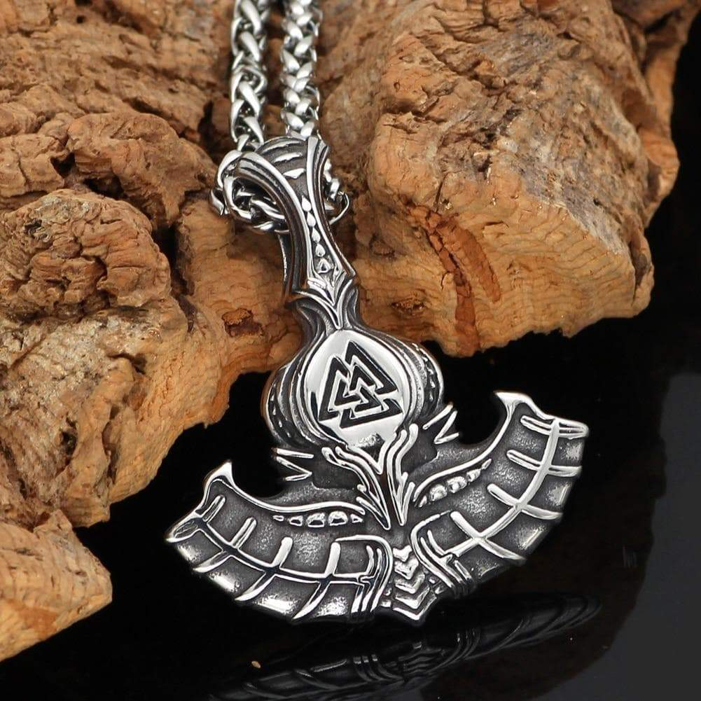 Pendants & Necklaces Vikings Mjolnir with Valknut Stainless Steel Pendant & Necklace Ancient Treasures Ancientreasures Viking Odin Thor Mjolnir Celtic Ancient Egypt Norse Norse Mythology