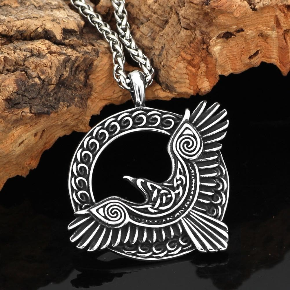 Pendants & Necklaces Vikings Nordic Raven Stainless Steel Pendant & Necklace Ancient Treasures Ancientreasures Viking Odin Thor Mjolnir Celtic Ancient Egypt Norse Norse Mythology