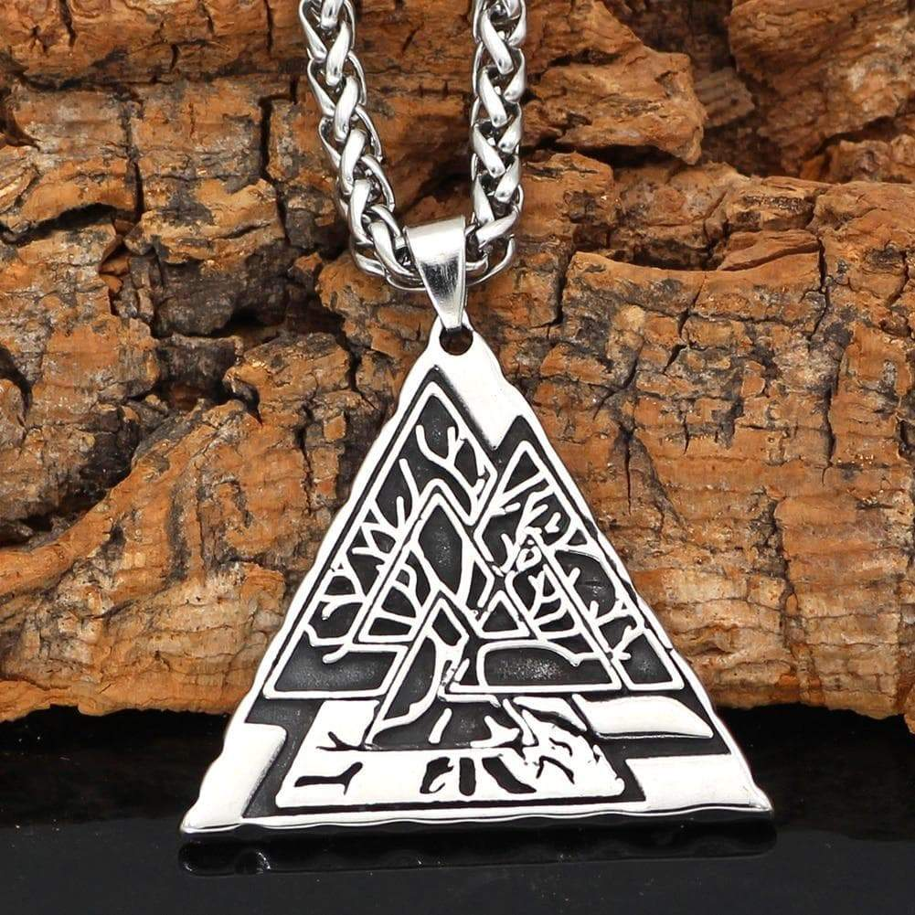 Pendants & Necklaces Vikings Nordic Valknuk with Yggdrasil Tree of Life Stainless Steel Necklace Ancient Treasures Ancientreasures Viking Odin Thor Mjolnir Celtic Ancient Egypt Norse Norse Mythology