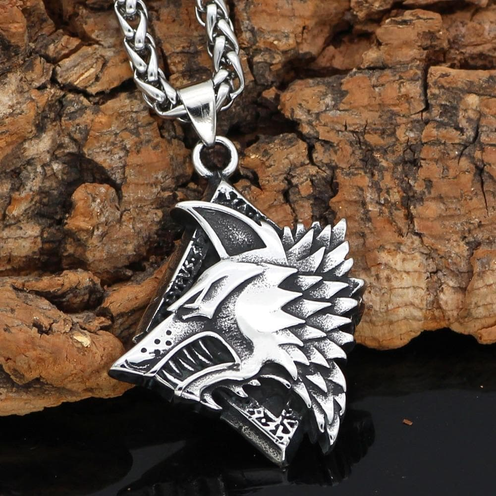 Pendants & Necklaces Vikings Nordic Wolf Rune Stainless Steel Pendant & Necklace Ancient Treasures Ancientreasures Viking Odin Thor Mjolnir Celtic Ancient Egypt Norse Norse Mythology