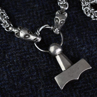 Pendants & Necklaces Vikings Thor Mjolnir Pendant on Dragon Chain Ancient Treasures Ancientreasures Viking Odin Thor Mjolnir Celtic Ancient Egypt Norse Norse Mythology