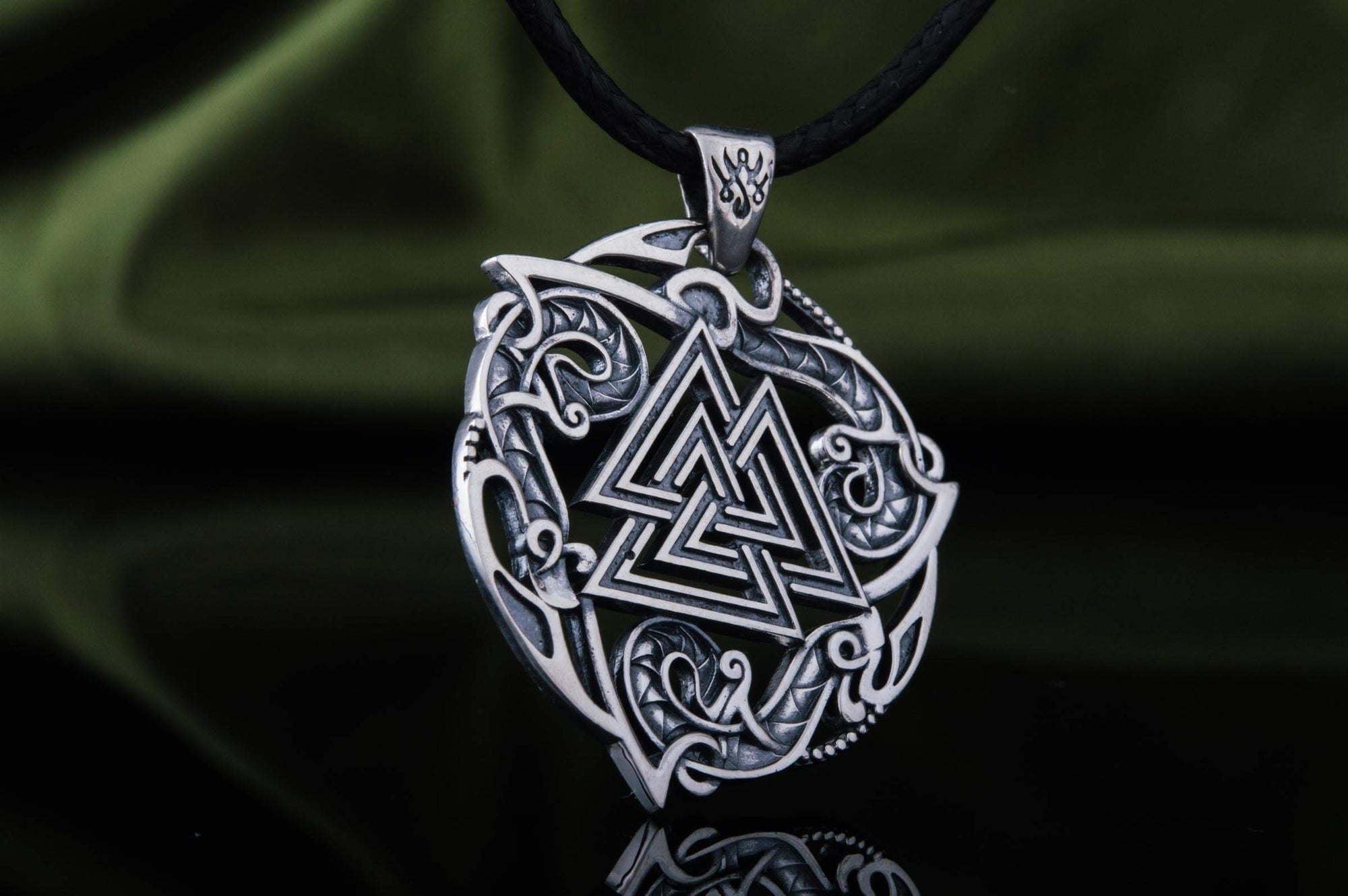 Vikings Valknut Sterling Silver Pendant with Norse Ornament