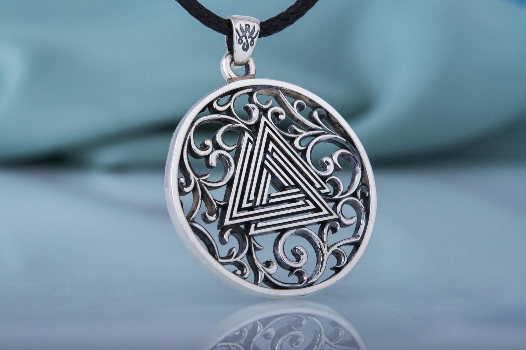 Vikings Valknut Symbol Sterling Silver Pendant with Scrollwork Art