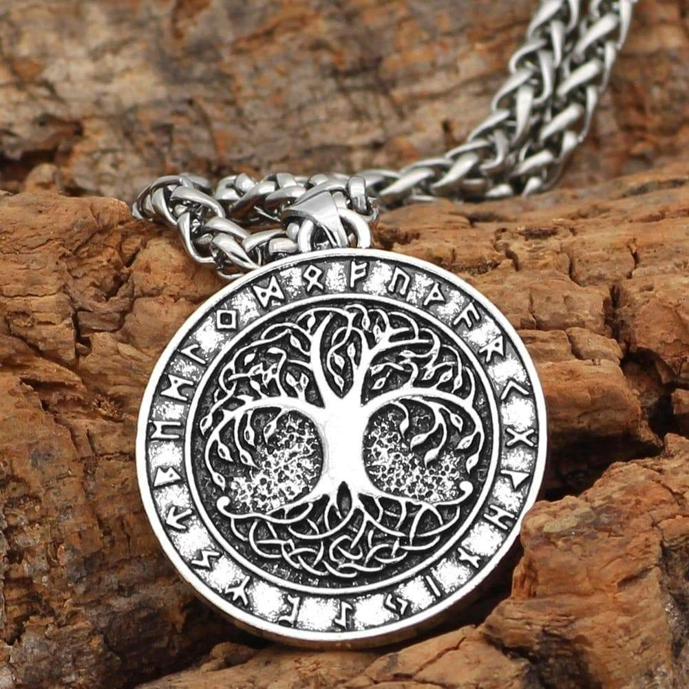 Vikings Yggdrasill Tree of Life and Runes Amulet Pendant & Necklace