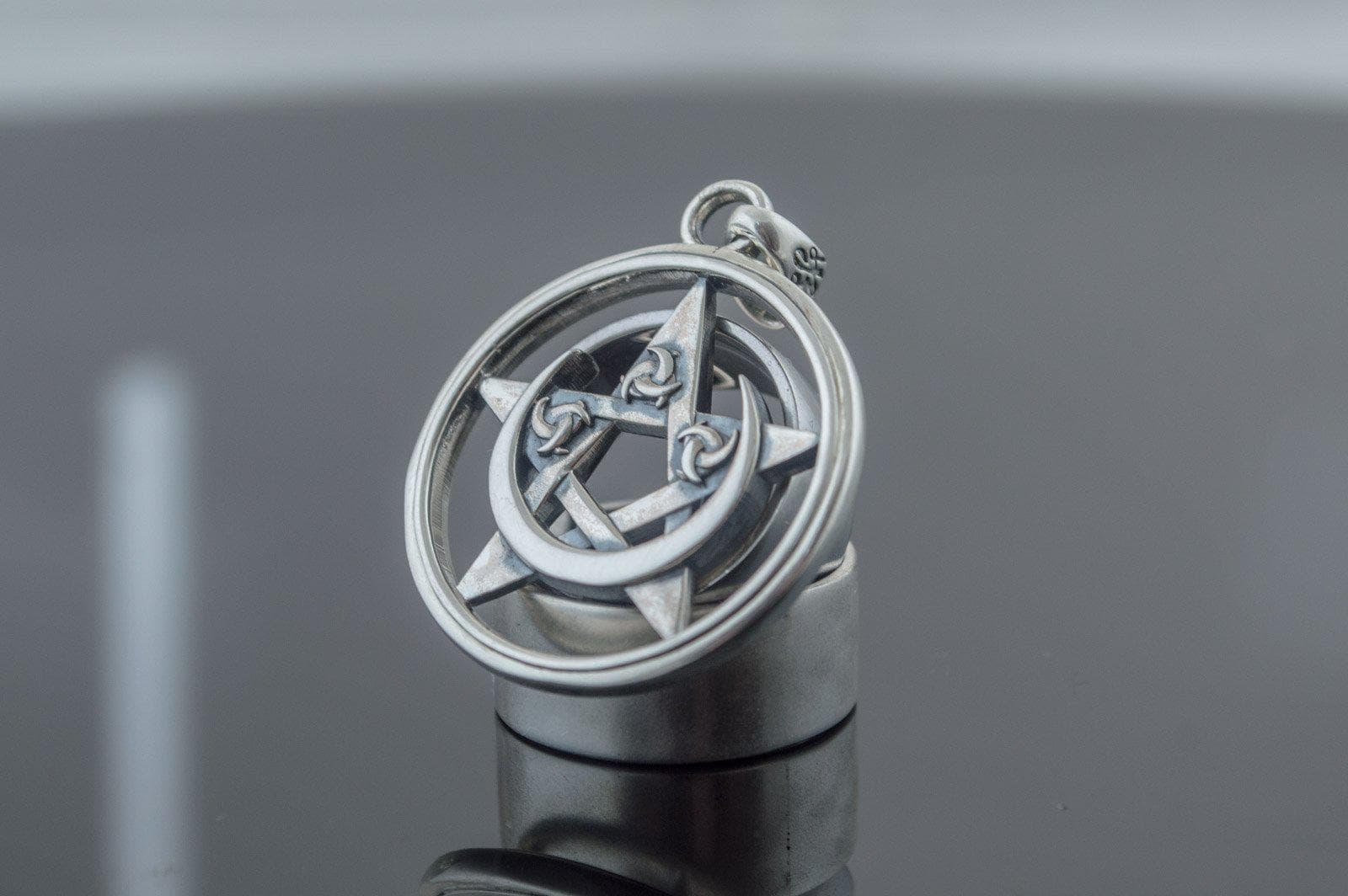 Pendants & Necklaces Wiccan Crescent Moon on Pentacle Sterling Silver Pendant Ancient Treasures Ancientreasures Viking Odin Thor Mjolnir Celtic Ancient Egypt Norse Norse Mythology