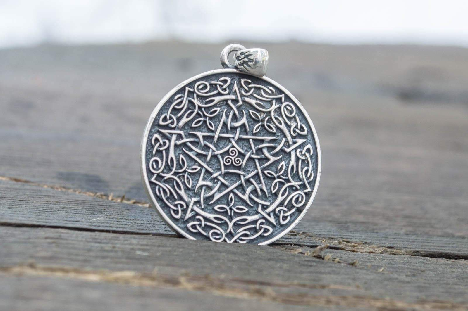 Pendants & Necklaces Wiccan Pentagram Sterling Silver Pendant with Triskelion & Knotwork Ancient Treasures Ancientreasures Viking Odin Thor Mjolnir Celtic Ancient Egypt Norse Norse Mythology