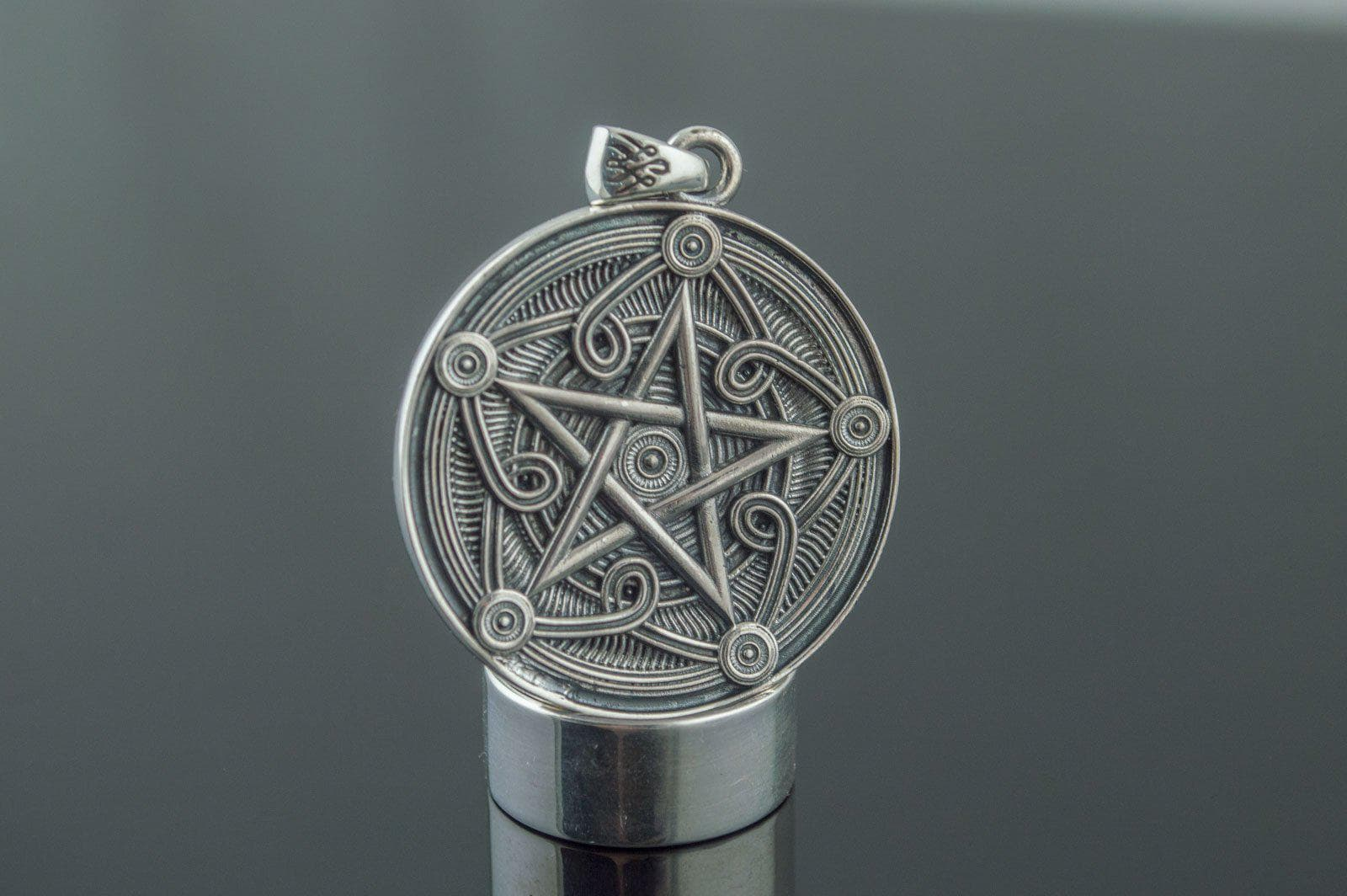 Pendants & Necklaces Wiccan Pentagram Symbol Sterling Silver handmade Pendant Ancient Treasures Ancientreasures Viking Odin Thor Mjolnir Celtic Ancient Egypt Norse Norse Mythology