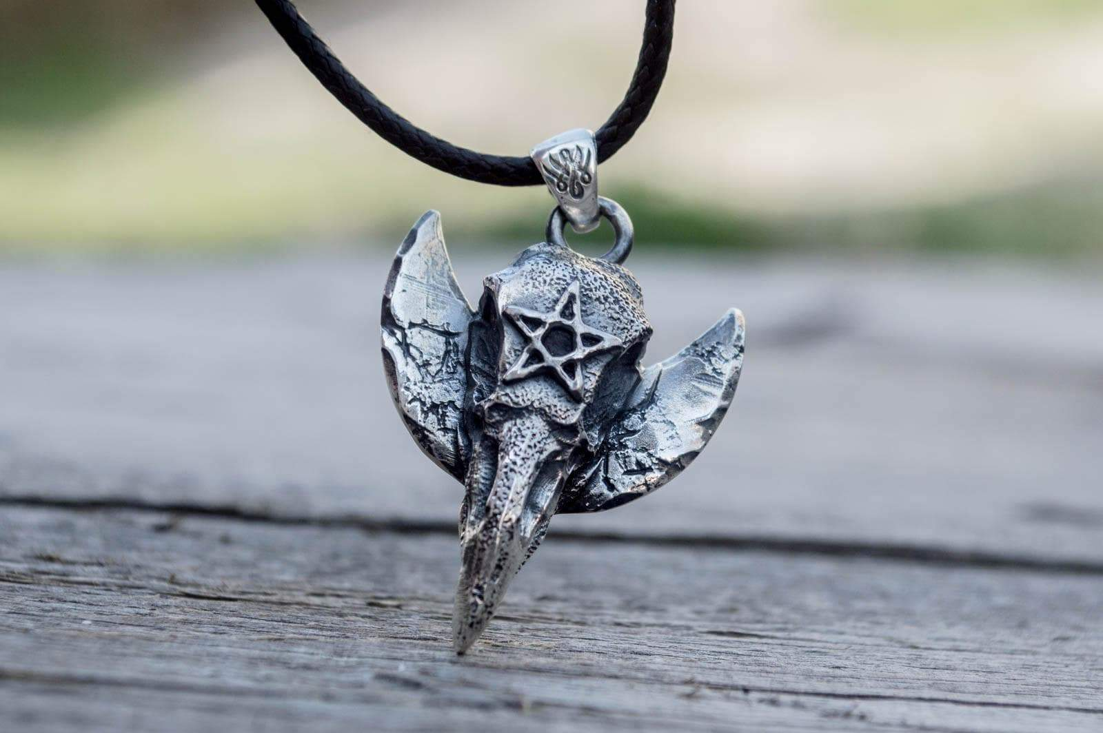 Pendants & Necklaces Wiccan Raven Skull with Pentagram Sterling Silver Pendant Ancient Treasures Ancientreasures Viking Odin Thor Mjolnir Celtic Ancient Egypt Norse Norse Mythology