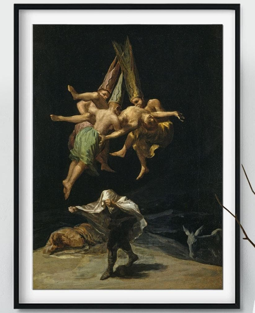 "Posters & Canvases Wiccan Francisco Goya ""Witches Flight"" Canvas Wall Art Poster Ancient Treasures Ancientreasures Viking Odin Thor Mjolnir Celtic Ancient Egypt Norse Norse Mythology"