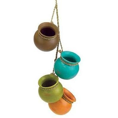 Wiccan Earth Tone Hanging Mini Pots Home Decor