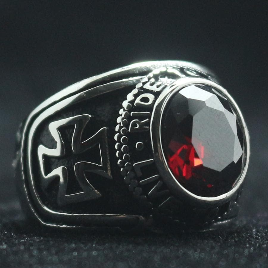 Templar Cross Biker Stainless Steel Ring