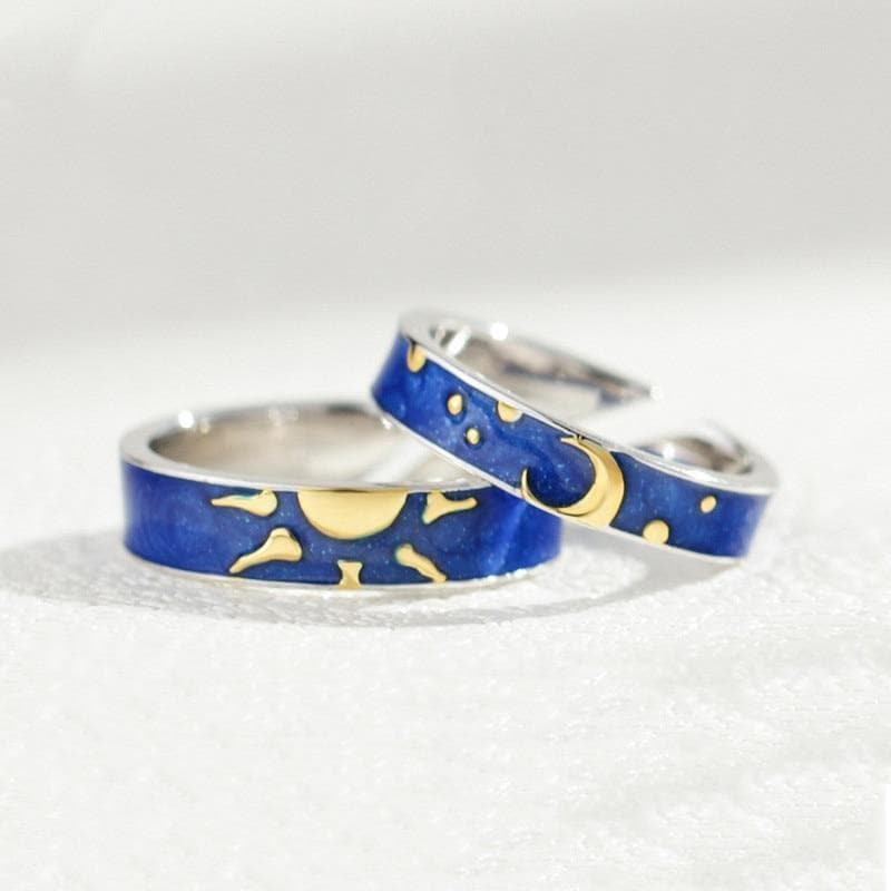 Rings 1Pcs Sun And Moon Lover Couple Rings Promise Wedding Bands for Him and Her Blue Starry Sky Open Lover Rings Romantic Jewelry|Rings| Ancient Treasures Ancientreasures Viking Odin Thor Mjolnir Celtic Ancient Egypt Norse Norse Mythology