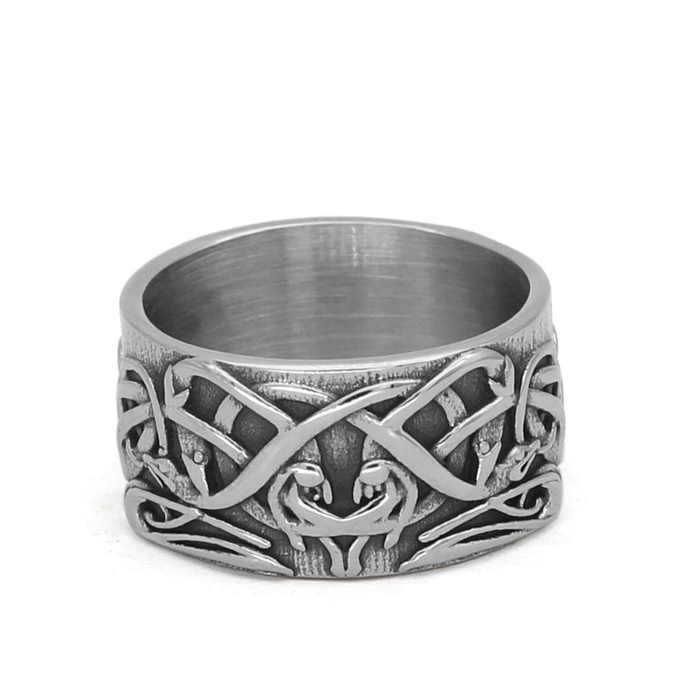Rings 9 / Silver Celtic Ornament Knot Amulet Stainless Steel Ring
