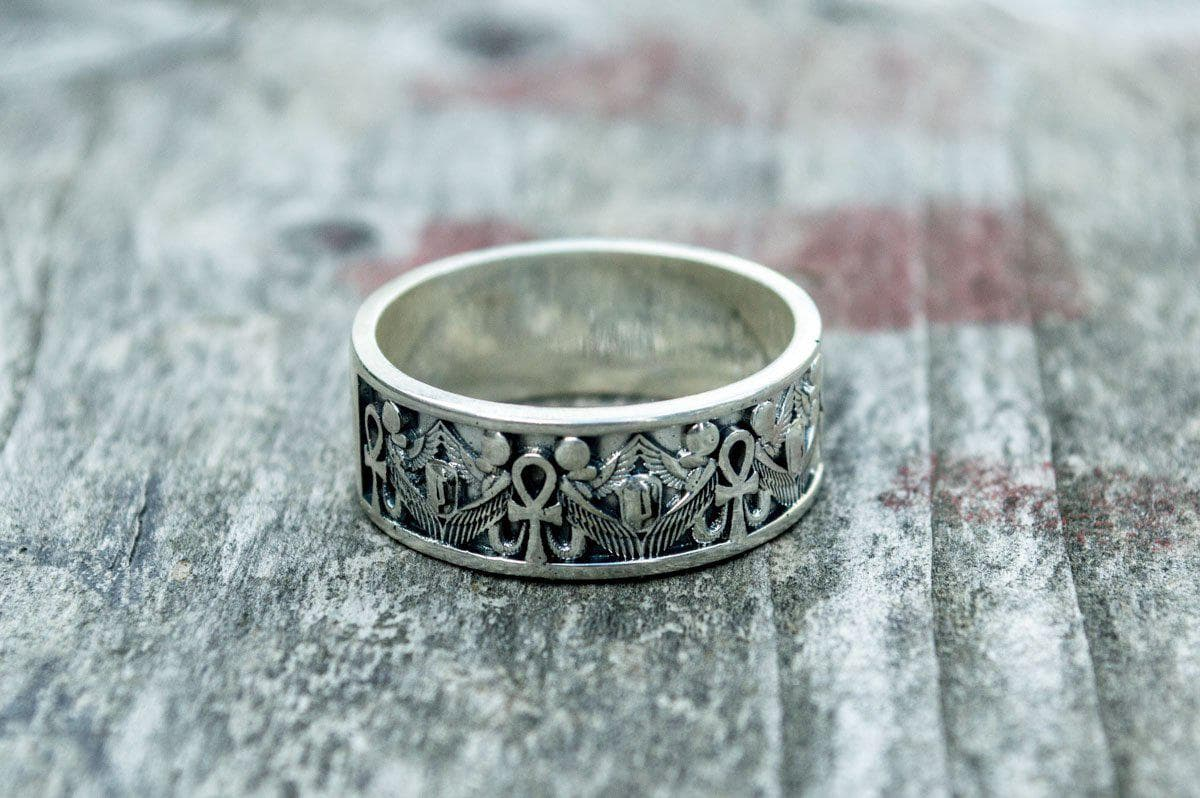 Rings Ancient Egypt Ankh Sterling Silver Ring with Goddess Isis Ancient Treasures Ancientreasures Viking Odin Thor Mjolnir Celtic Ancient Egypt Norse Norse Mythology