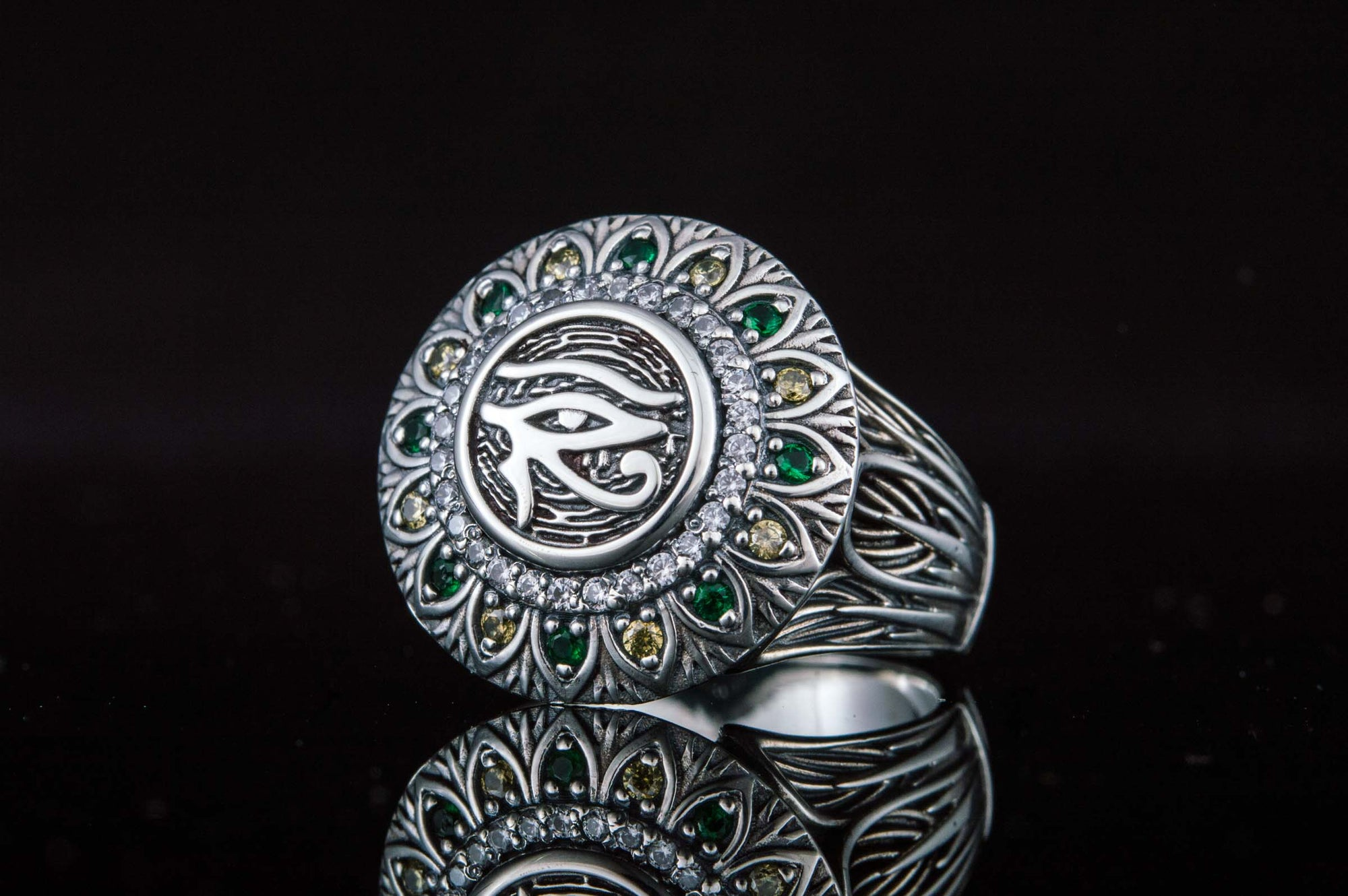 Rings Ancient Egypt Eye of Horus Sterling Silver Ring with Cubic Zirconia Ancient Treasures Ancientreasures Viking Odin Thor Mjolnir Celtic Ancient Egypt Norse Norse Mythology