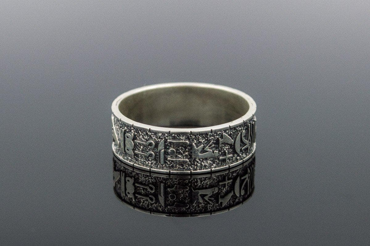 Rings Ancient Egypt Hieroglyphics and Ornament Sterling Silver Ring Ancient Treasures Ancientreasures Viking Odin Thor Mjolnir Celtic Ancient Egypt Norse Norse Mythology