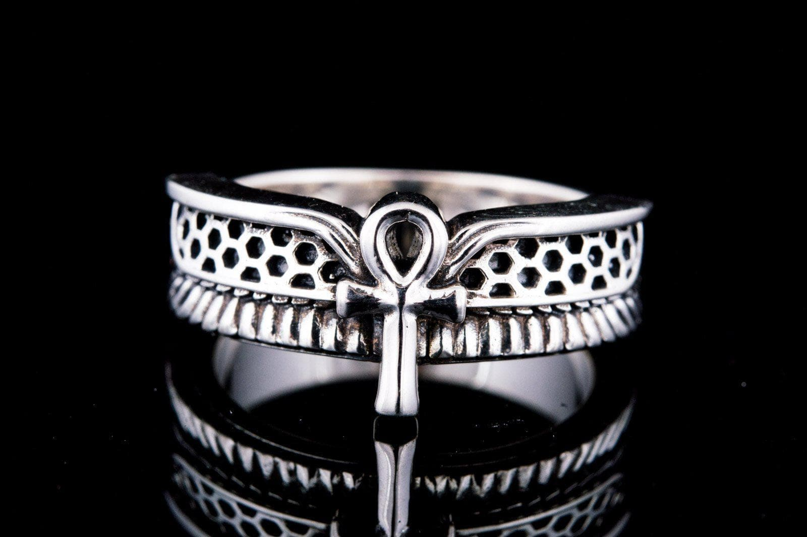 Rings Ancient Egypt Perforated Winged Ankh Sterling Silver Ring Ancient Treasures Ancientreasures Viking Odin Thor Mjolnir Celtic Ancient Egypt Norse Norse Mythology