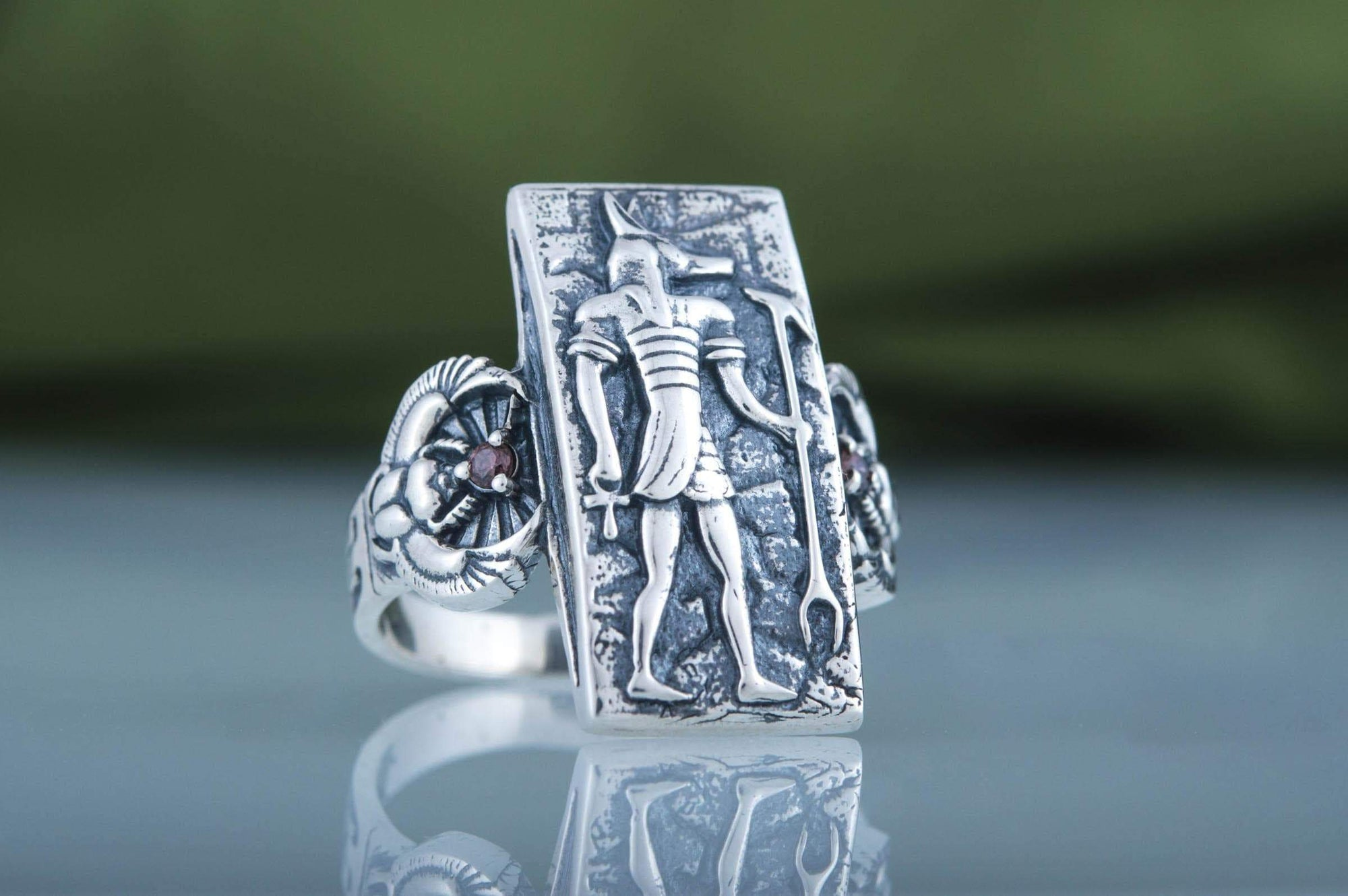 Rings Ancient Egypt Sterling Silver Ring with Anubis Ancient Treasures Ancientreasures Viking Odin Thor Mjolnir Celtic Ancient Egypt Norse Norse Mythology