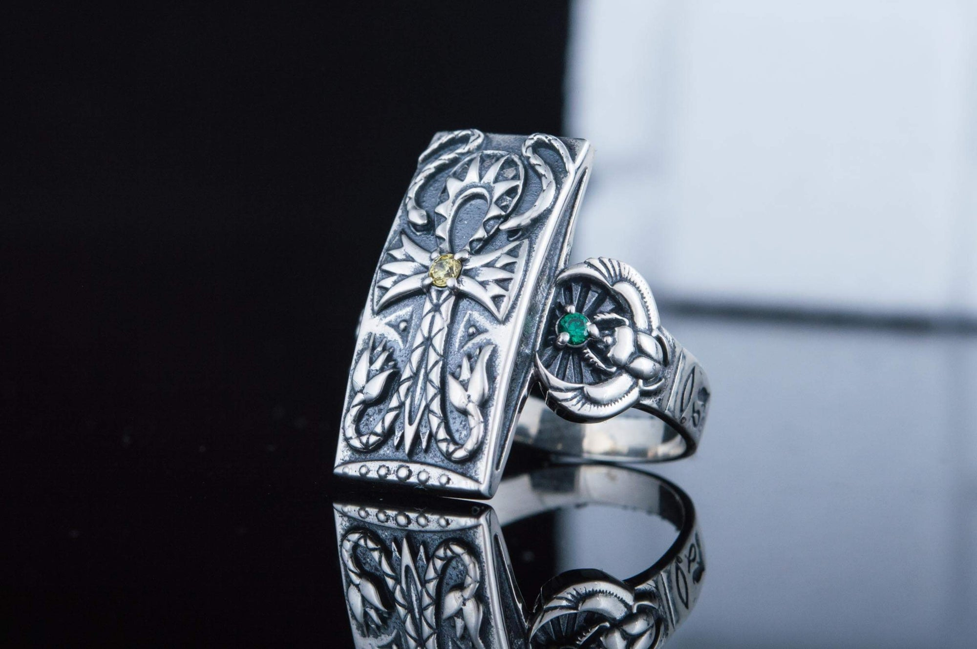Rings Ancient Egypt Sterling Silver Ring with Ornamented Ankh Ancient Treasures Ancientreasures Viking Odin Thor Mjolnir Celtic Ancient Egypt Norse Norse Mythology