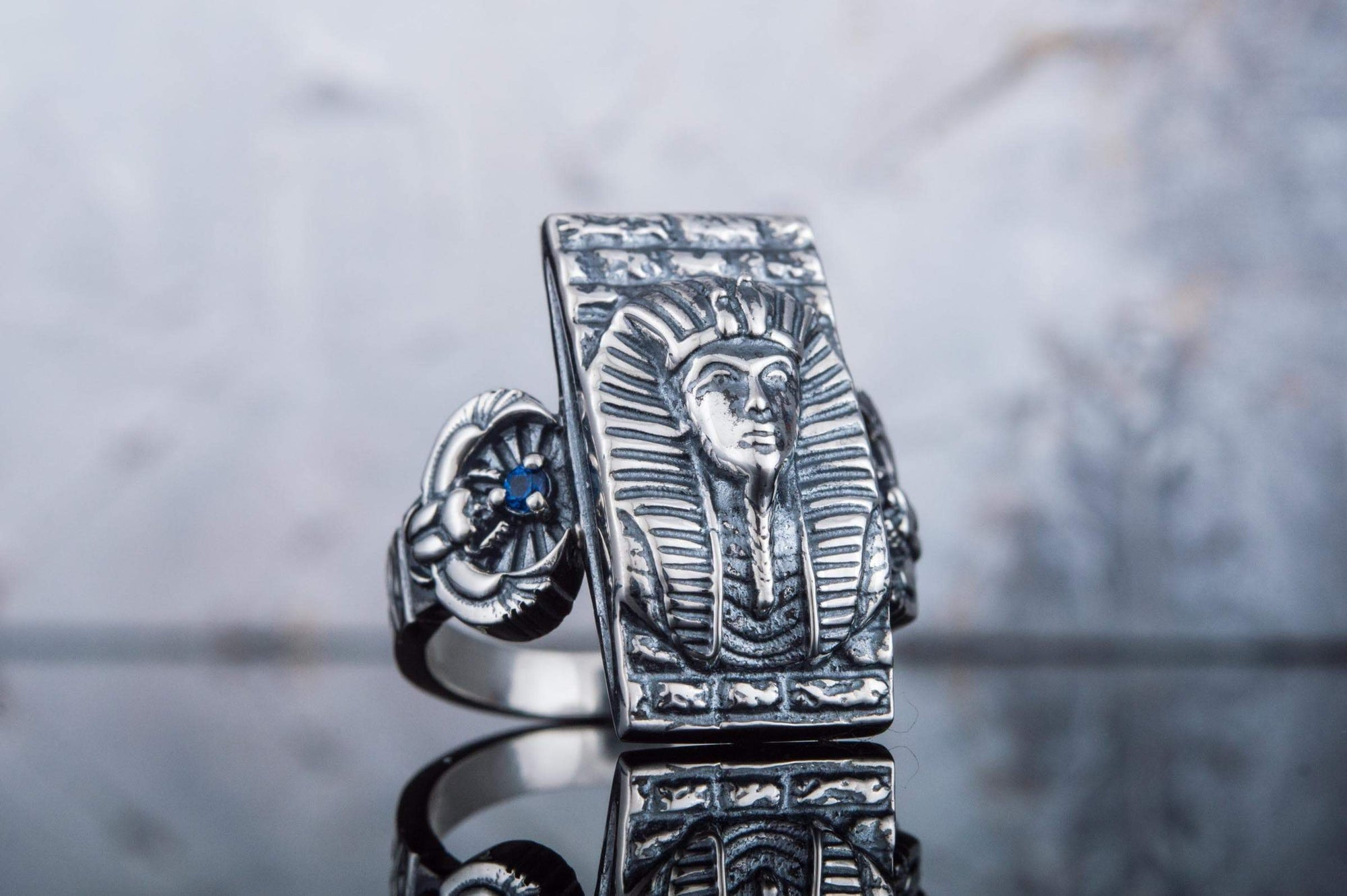 Rings Ancient Egypt Sterling Silver Ring with Pharaoh Tutankhamun Ancient Treasures Ancientreasures Viking Odin Thor Mjolnir Celtic Ancient Egypt Norse Norse Mythology