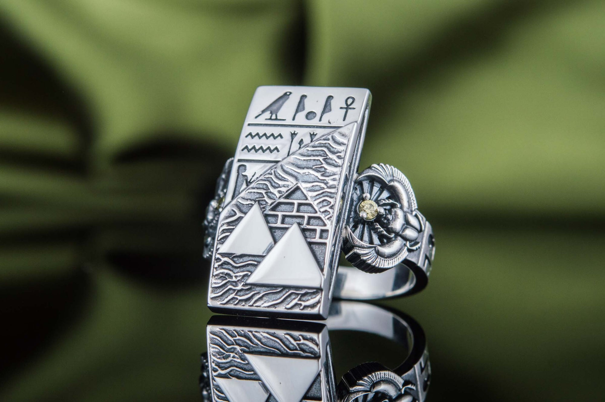 Rings Ancient Egypt Sterling Silver Ring with Pyramid & Hieroglyphics Ancient Treasures Ancientreasures Viking Odin Thor Mjolnir Celtic Ancient Egypt Norse Norse Mythology