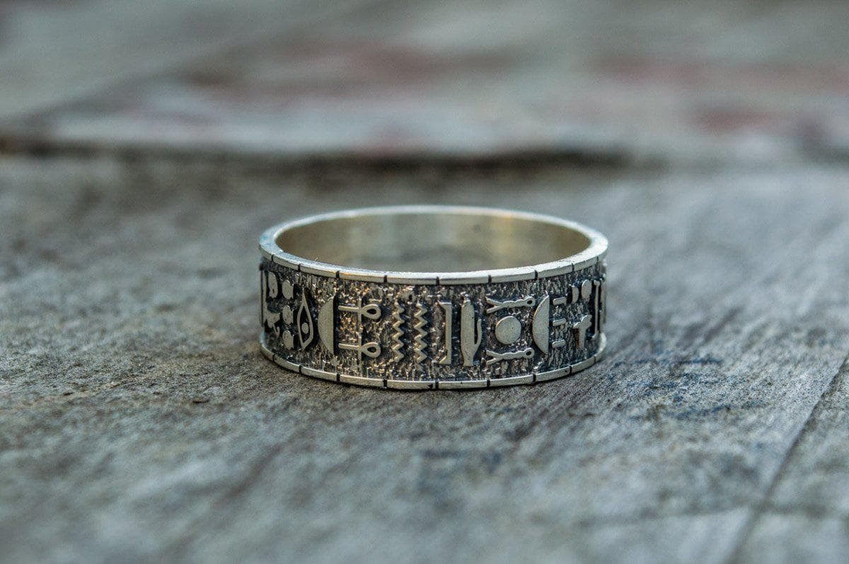Rings Ancient Egypt Unique Symbols and Hieroglyphics Sterling Silver Ring Ancient Treasures Ancientreasures Viking Odin Thor Mjolnir Celtic Ancient Egypt Norse Norse Mythology