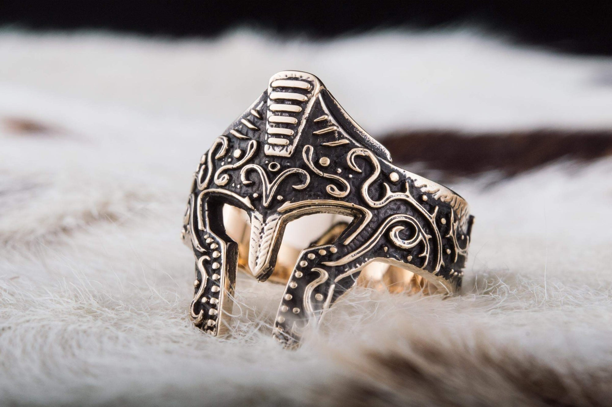Rings Ancient Greece Spartan Helmet Handmade Ring with Ornaments Ancient Treasures Ancientreasures Viking Odin Thor Mjolnir Celtic Ancient Egypt Norse Norse Mythology