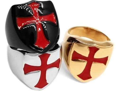 Rings Bamos Punk Knights Templar Stainless Steel Rings For Women Men Vintage Red Enamel Cross Finger Ring Fashion Jewelry Best Gift|Rings| Ancient Treasures Ancientreasures Viking Odin Thor Mjolnir Celtic Ancient Egypt Norse Norse Mythology