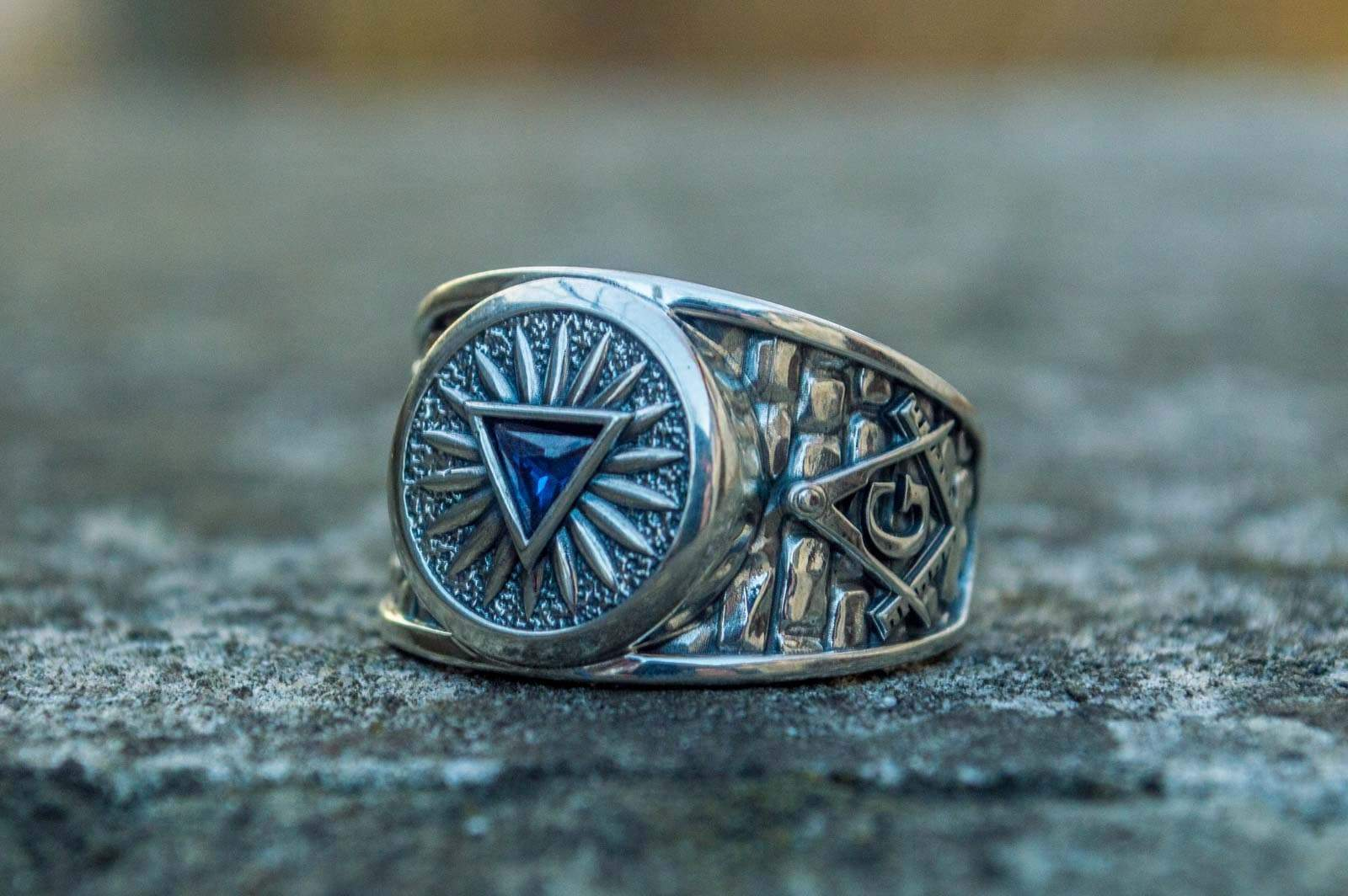 Rings Masonic Cubic Zirconia Eye of Providence Sterling Silver Ring Ancient Treasures Ancientreasures Viking Odin Thor Mjolnir Celtic Ancient Egypt Norse Norse Mythology