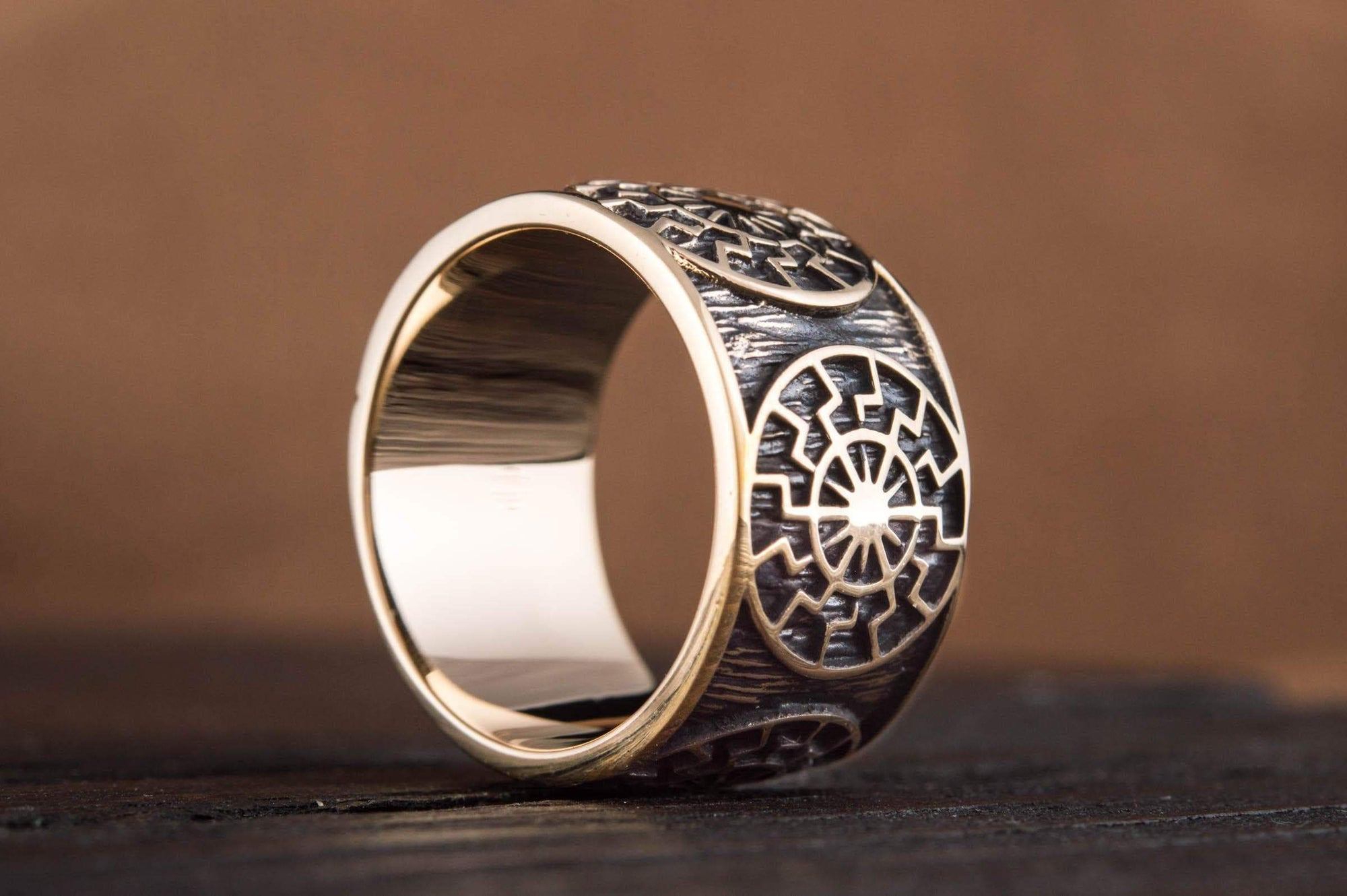 Rings BRONZE / US 7 Vikings Black Sun Symbol Handcrafted Norse Ring Ancient Treasures Ancientreasures Viking Odin Thor Mjolnir Celtic Ancient Egypt Norse Norse Mythology