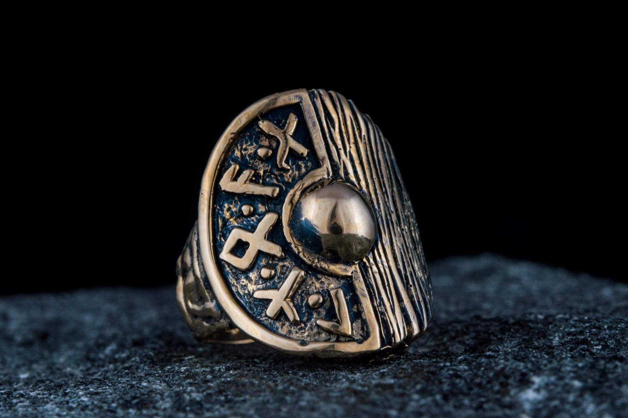 Rings Bronze / US 7 Vikings Wood Textured & Runes Handcrafted Shield Ring Ancient Treasures Ancientreasures Viking Odin Thor Mjolnir Celtic Ancient Egypt Norse Norse Mythology