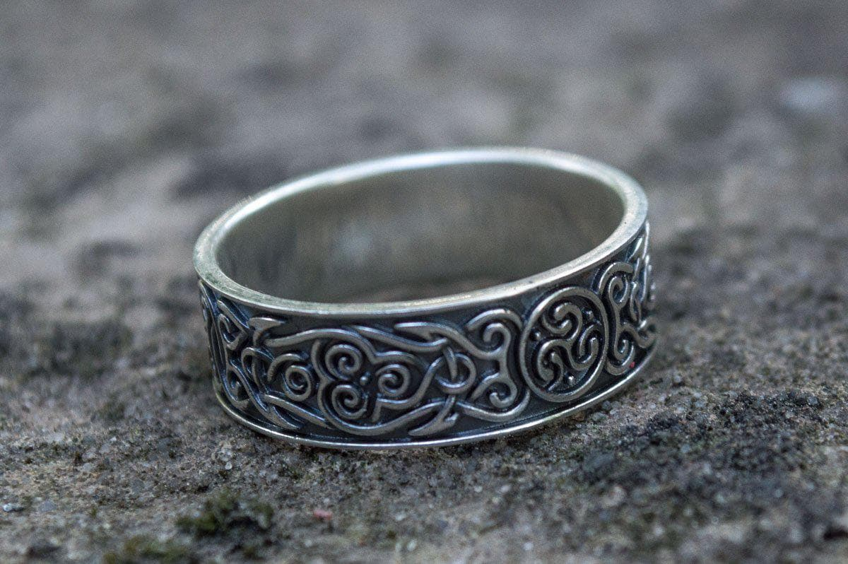 Celtic Triskelion Ornament Sterling Silver Handcrafted Ring