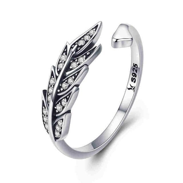 Rings China / SCR313 BAMOER Hot Sale Authentic 925 Sterling Silver Feather Wings Adjustable Finger Ring for Women Sterling Silver Jewelry Gift SCR313|Rings| Ancient Treasures Ancientreasures Viking Odin Thor Mjolnir Celtic Ancient Egypt Norse Norse Mythology