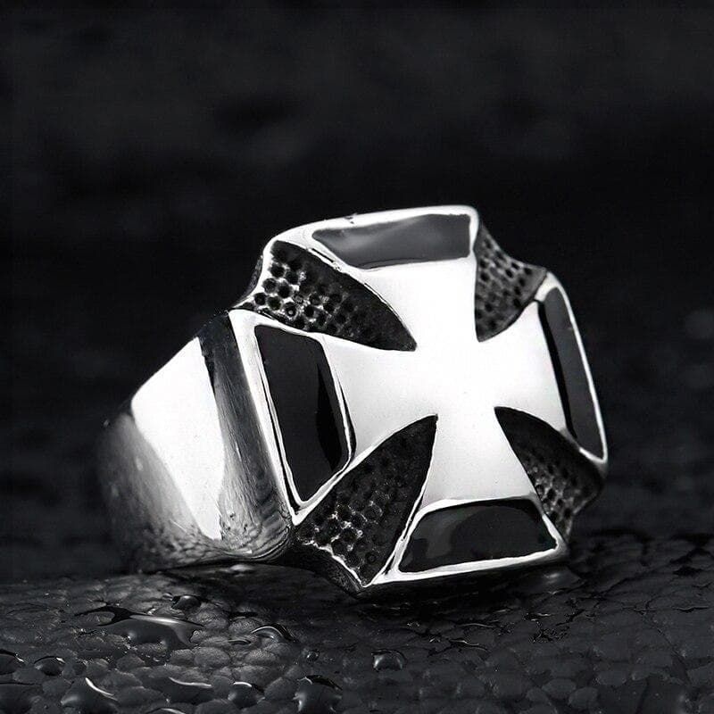 Rings Domineering World War II German Iron Cross Ring For Men Vintage Stainless Steel Punk Biker Military Ring Wholesale|Rings| Ancient Treasures Ancientreasures Viking Odin Thor Mjolnir Celtic Ancient Egypt Norse Norse Mythology