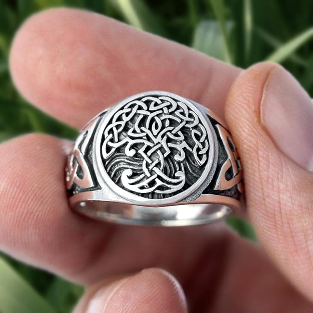 Rings EYHIMD Viking Tree of Life Yggdrasil Celtics Knotwork Ring Men's Stainless Steel Norse Amulet Jewellery|Rings| Ancient Treasures Ancientreasures Viking Odin Thor Mjolnir Celtic Ancient Egypt Norse Norse Mythology