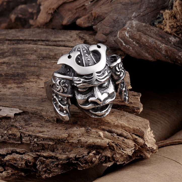 Rings Feudal Japan Bushido Samurai Warrior Helmet Stainless Steel Ring Ancient Treasures Ancientreasures Viking Odin Thor Mjolnir Celtic Ancient Egypt Norse Norse Mythology